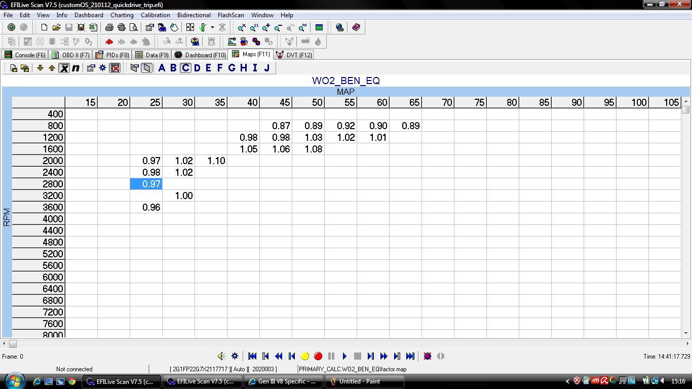 VE tune -> C6001 -> p0101, p0102, p0103 settings